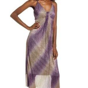 All In Favor Purple Silver Sleeveless Midi Dress